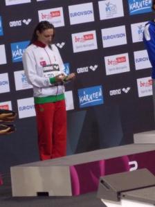 Berlino 2014 - Katinka Hosszu sul podio