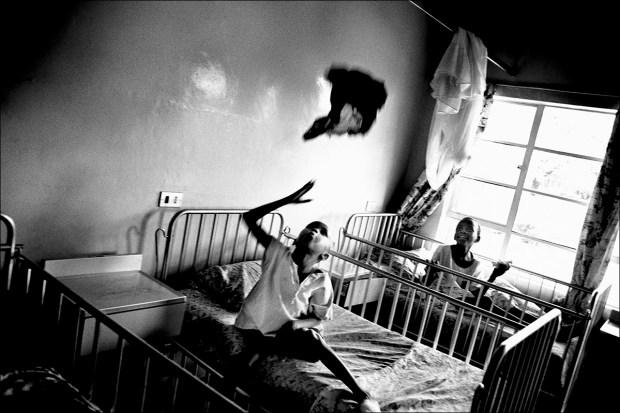 Suspended in midair