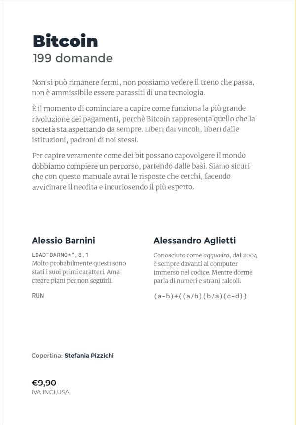 Libro Bitcoin 199 Domande Alessio Barnini Alessandro Aglietti