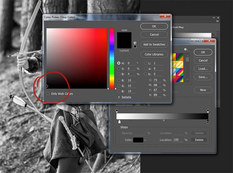 Selezionando un colore poco sopra al nero puro, le ombre diventeranno significativamente più chiare