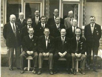 Committee 1958. Br - J.Walker, J.Pettigrew, T.Leadbetter, W.Ross. Cr - D.Borthwick, J.Sutter, A.Murdoch, R.Burnett, J.Moffat, A.Anderson. Fr - R.Marshall, G.Davis, A.Scott, E.M.Clark.