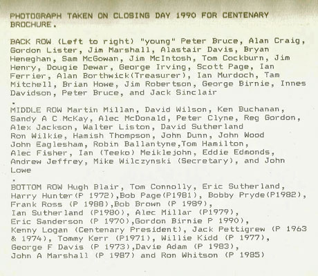 Centenary group names 1990
