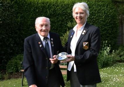 Chris Bentley presents a Quaich to Jock Fairbairn to Celebrate his 50th Year of Membership in 2015
