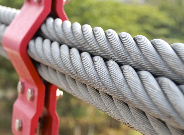 The closeup of bundle cables on suspension bridge