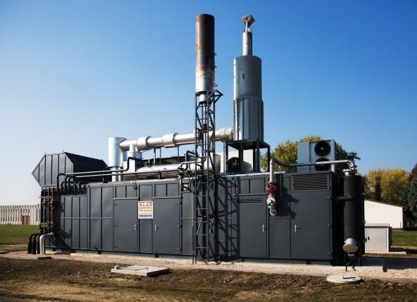 Modern gas engine energy generator outdoor