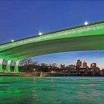 Bridge over a river colored in green