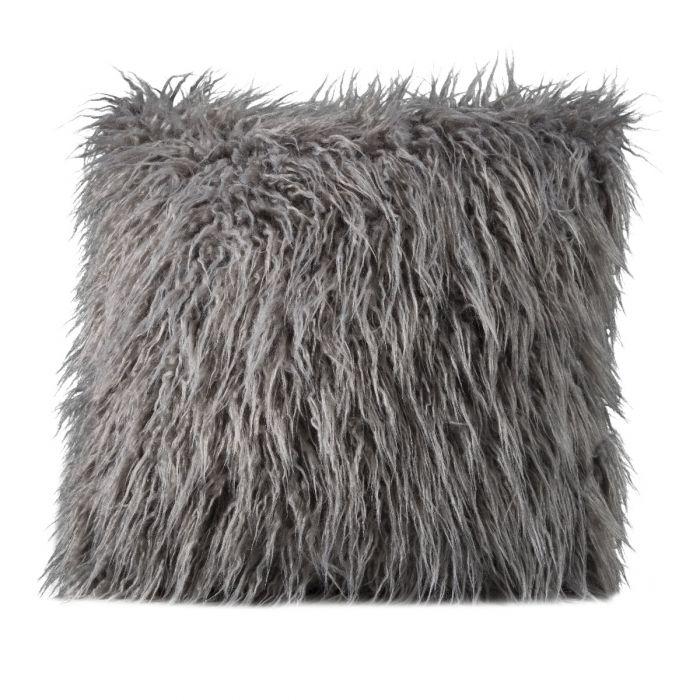 mongolian faux fur pillow gray