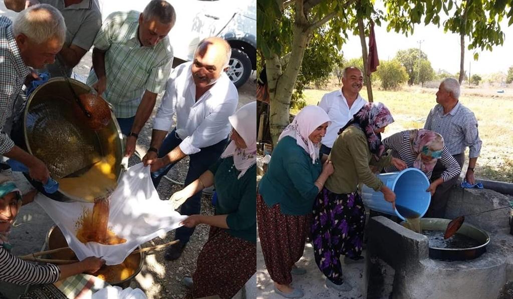 Başkan Aydın Pekmez Kaynatanlara Eşlik Etti