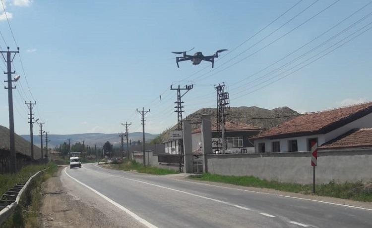 Çorum'da Drone ile trafik denetimi!