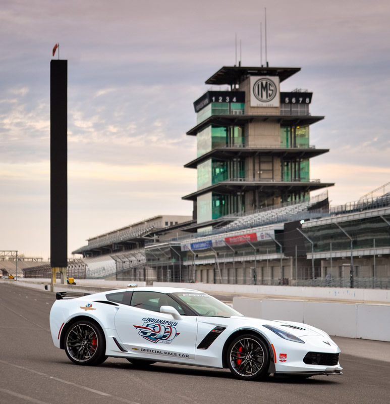 """Chevrolet announces Wednesday, April 29, 2015 that five-time Brickyard 400 winner and four-time NASCAR Sprint Cup champion Jeff Gordon will drive a Corvette Z06 pace car for the 99th running of the Indianapolis 500 mile race, on May 24 at the Indianapolis Motor Speedway. It is the 13th time a Corvette has served as the official pace car, dating to 1978, and the 26th time a Chevrolet has led the pack for """"The Greatest Spectacle in Racing."""" (Photo by IMS for Chevy Racing)"""