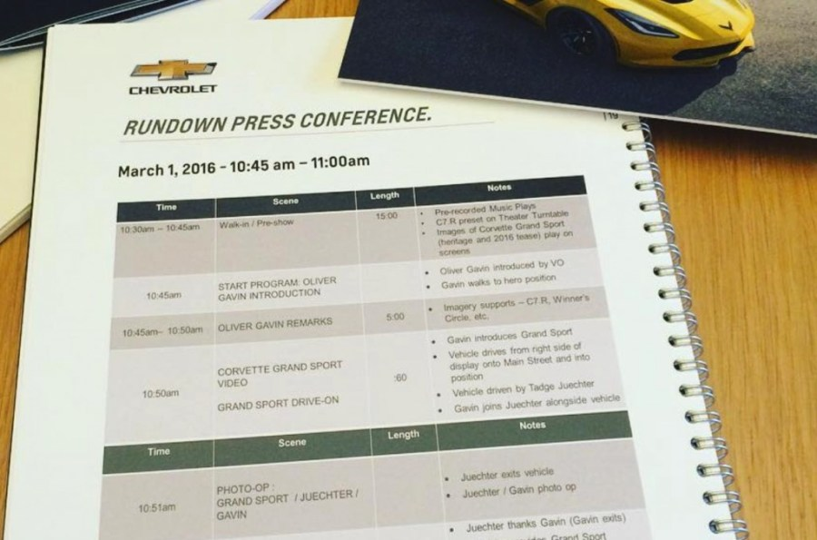 Oliver Gavin's Itinerary showing the unveiling of the C7 Corvette Grand Sport at the Geneva Motor Show.