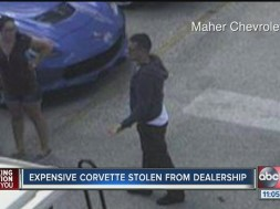 A thief stole a $100,003 car from a dealership and detectives want to speak with two people captured on surveillance video that day.