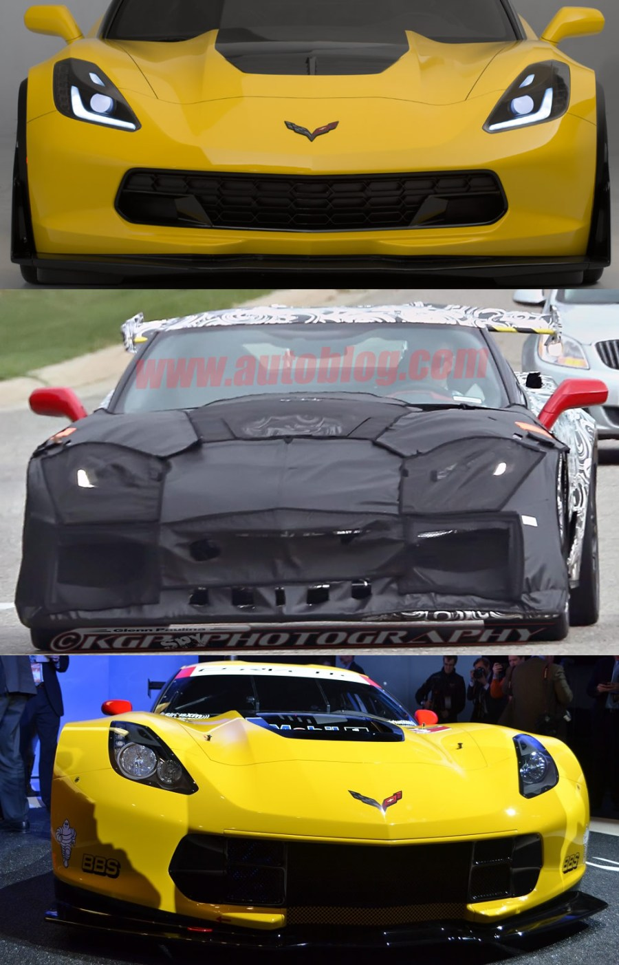 2015 Z06 on top, 2018 Corvette ZR1 Test Mule in the middle, Corvette Racing's C7.R on the bottom.