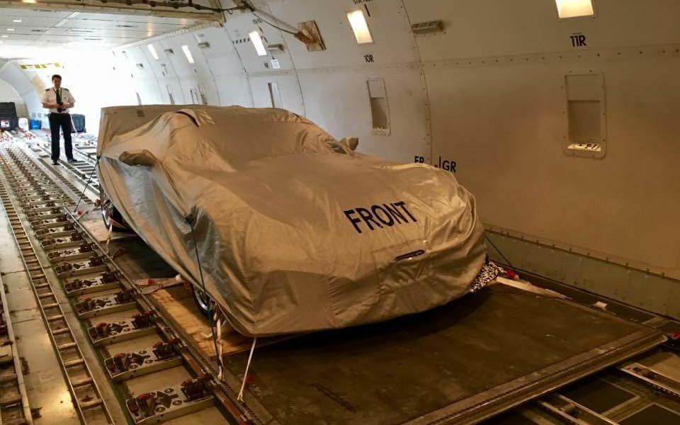 2018 Corvette ZR1 prototype nestled securely in the belly of a 747 headed to Europe.