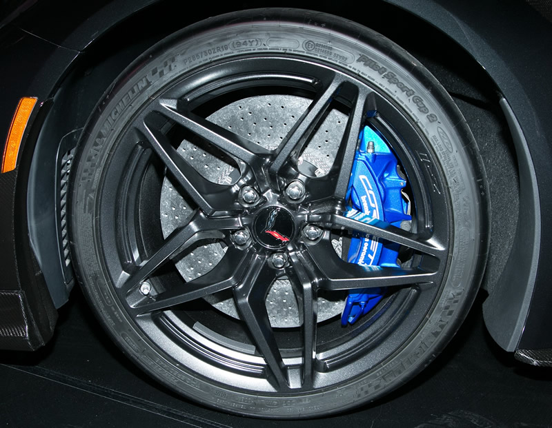 The 2019 Corvette ZR1 utilizes a unique carbon-ceramic Brembo brake system.