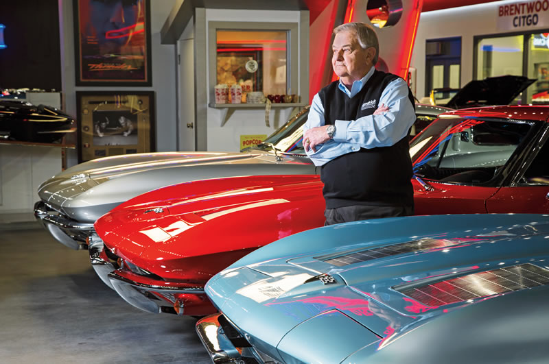 Jim Perkins with a trio of Mid-Year Corvettes.