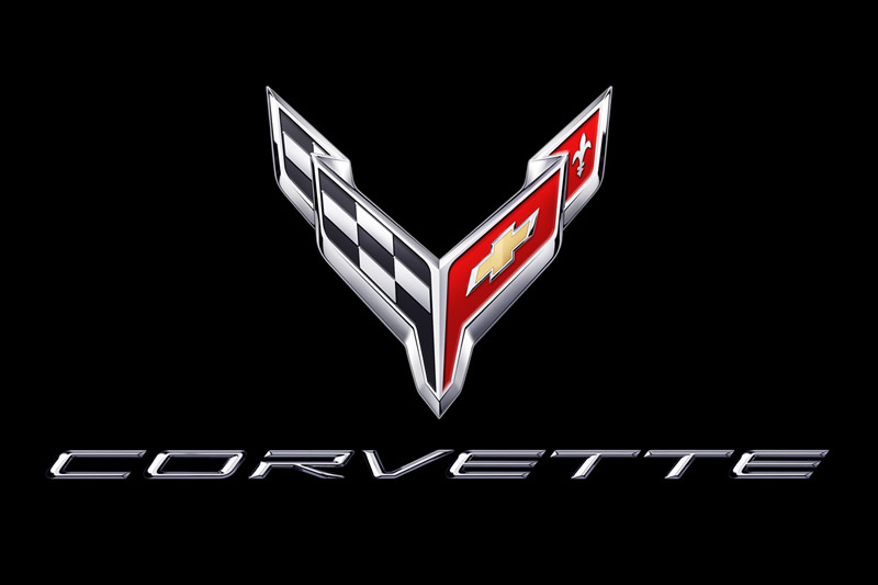2020 Corvette Crossflags Symbol and Script in Chrome on Black