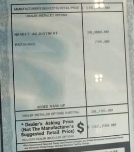 2020 Corvette Adjusted Dealer Market Price
