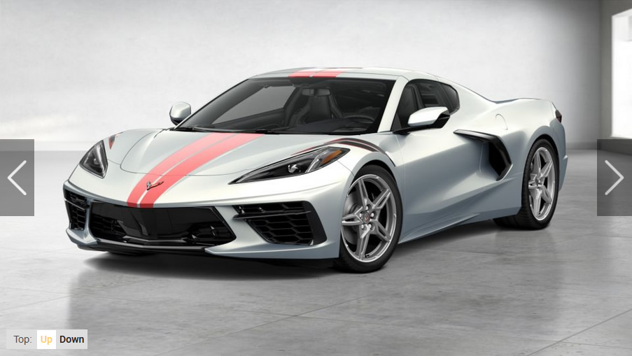 2021 Corvette in Silver Flare Metallic coupe with the Full Length Dual Racing Stripe Package, Edge Red and Fender hash marks