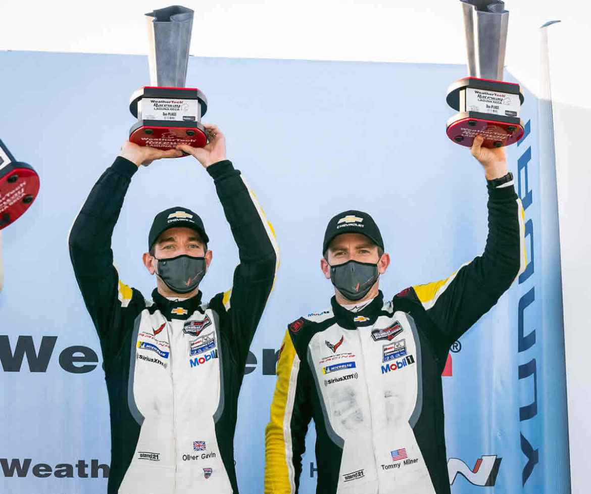 Oliver Gavin (left) and Tommy Milner, drivers of the #4 Mobil 1/SiriusXM Chevrolet Corvette C8.R celebrate their third place finish in the GTLM class Sunday, November 1, 2020 during the IMSA WeatherTech SportsCar Championship's Monterey Sports Car Championship at WeatherTech Raceway Laguna Seca in Monterey, California. Gavin and Milner are in second place in the drivers championship with one race to go in the season. (Photo by Richard Prince for Chevy Racing)