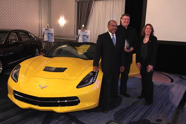 GM's Ed Welburn, Craig Sass and Helen Emsley pose with the new Corvette   Photo: WardsAuto