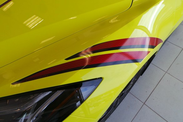 2021 Corvette in Accelerate Yellow with Edge Red - Carbon Flash Stinger Stripes