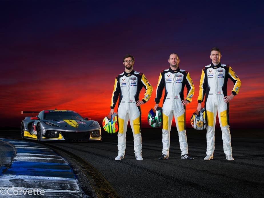 Corvette Racing; 2021 Corvette C8.R #4 drivers Alexander Sims, Nick Tandy, and Tommy Milner (Richard Prince/Chevrolet Photo).