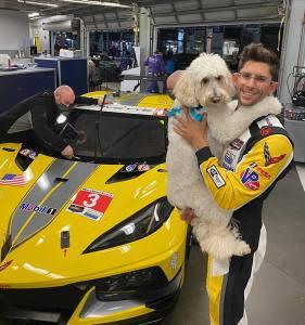 Jordan Taylor and a Corvette Racing Team Mascot!