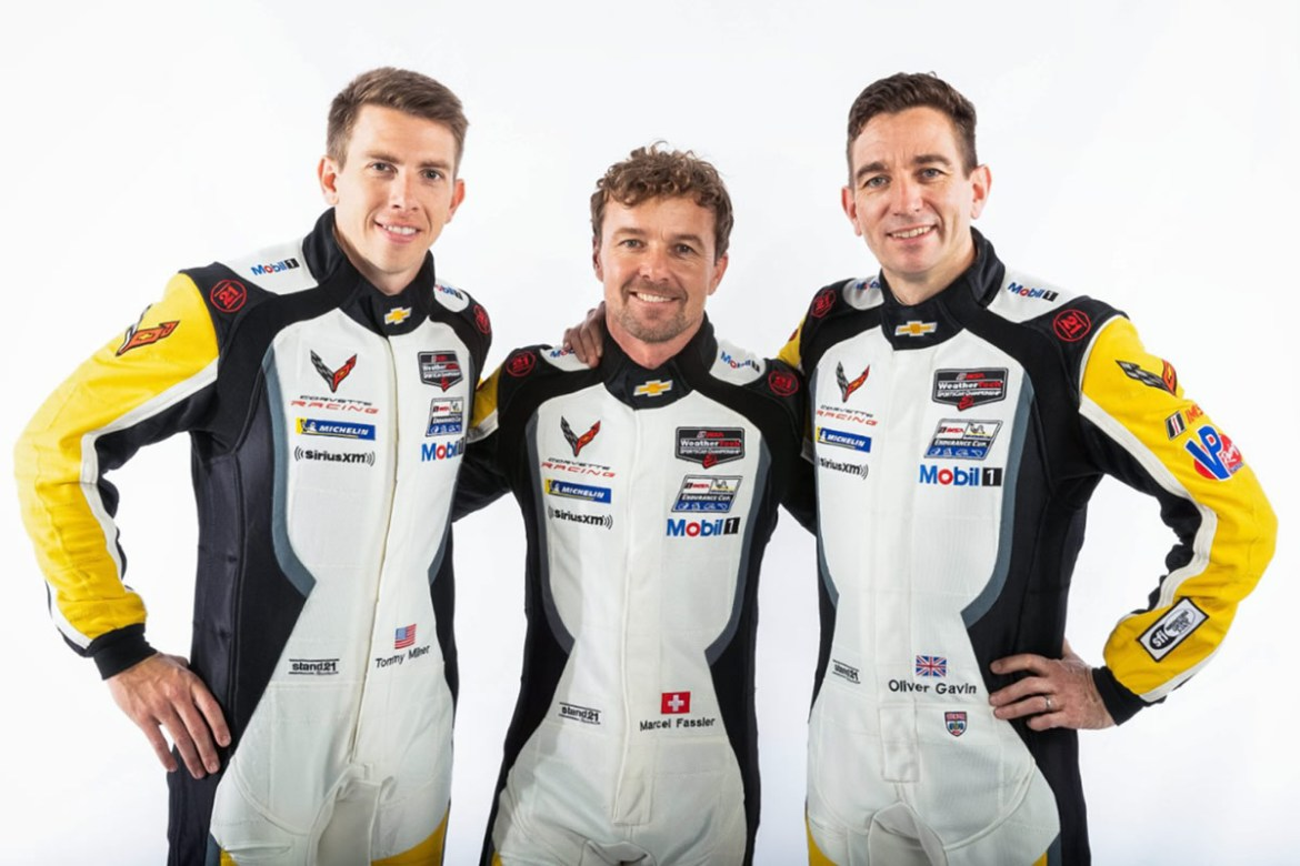 Tommy Milner (left), Marcel Fässler (center) and Oliver Gavin (right) (Photo by Richard Prince for Chevy Racing)