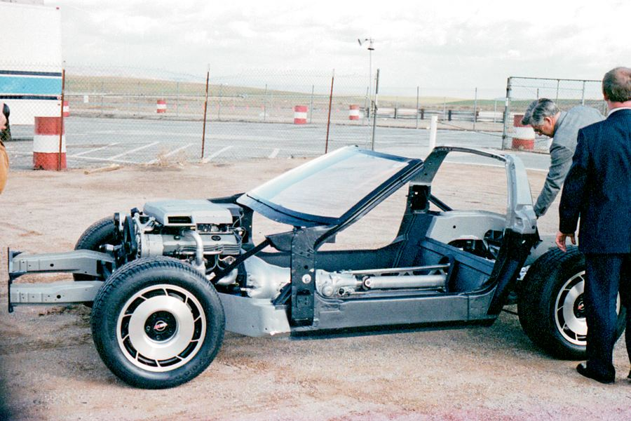 The frame of the C4 Corvette was composed of multiple steel components that included a cage around the cockpit. Tall side rockers added strength at the expensive of easy ingress/egress.