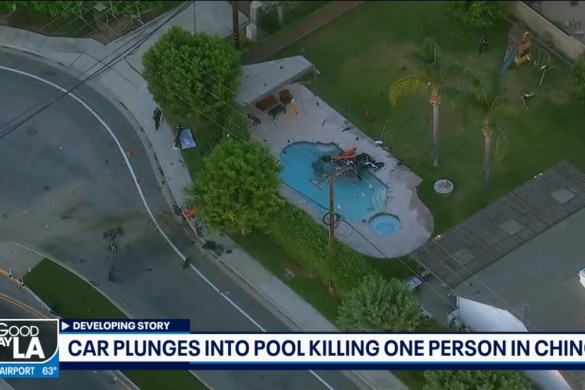 Two people were killed and one injured when the driver of a C8 Corvette Stingray plunged it into a neighborhood swimming pool in California