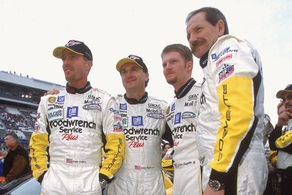 Dale Earnhardt Jr. and Sr. with the Corvette Racing team