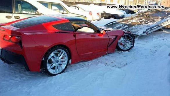 [PIC] Red 2014 Corvette Stingray Crashes in the Snow