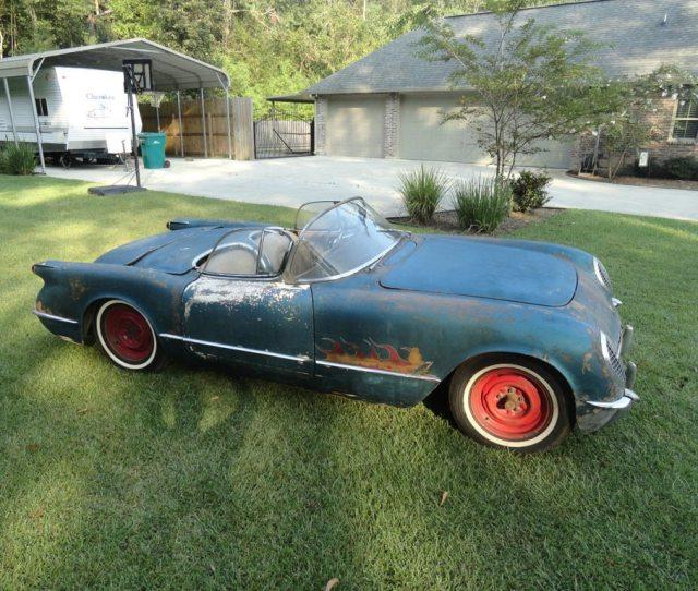 Corvettes On Ebay 1954 Pennant Blue Corvette Barn Find