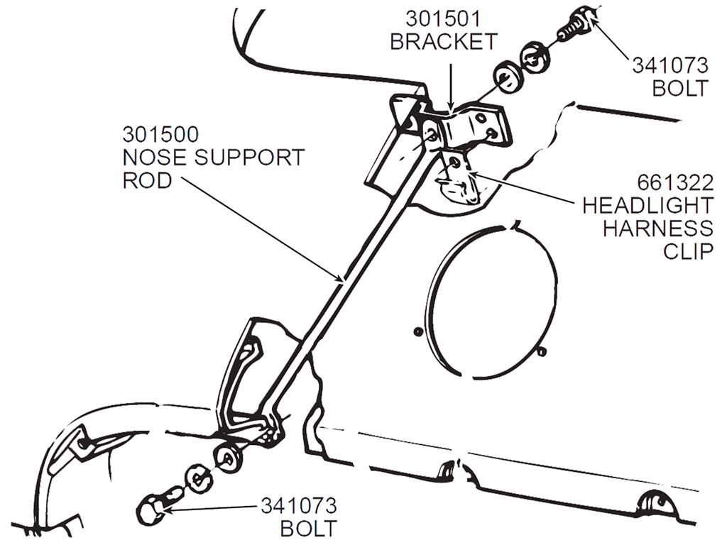 53 62 53 57 Female Hood Catch 58 62 Nose Support Rod