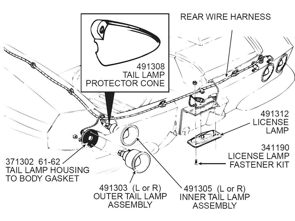 61 67 Tail Light Housing Gasket