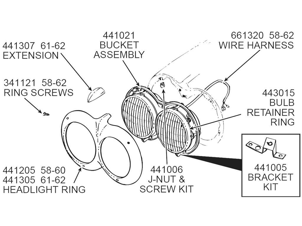 56 62 Headlight Bucket Screw Kit