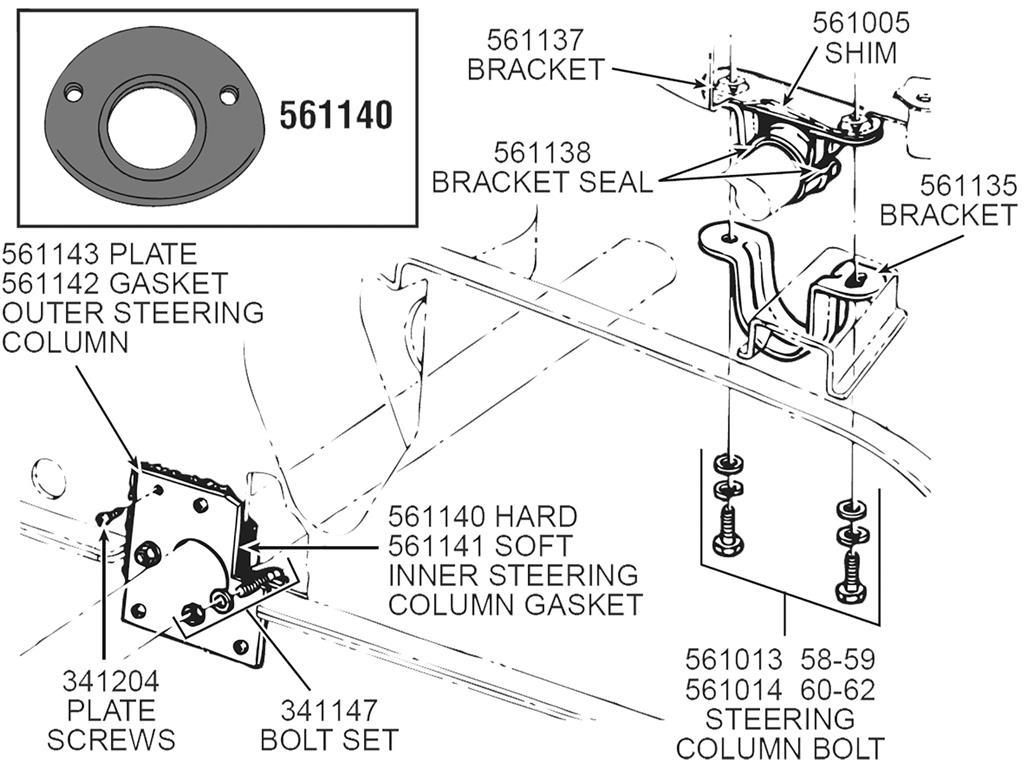 61 62 Steering Column Bracket Mount Bolt Set