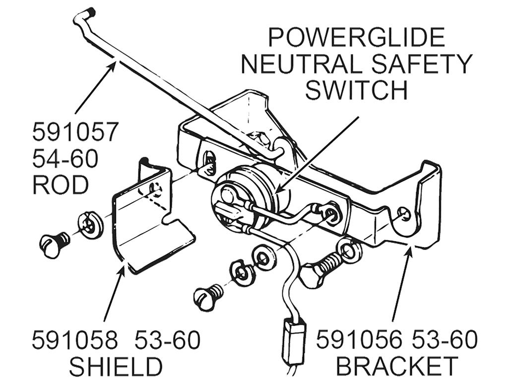 54 60 Powerglide Neutral Safety Switch Rod