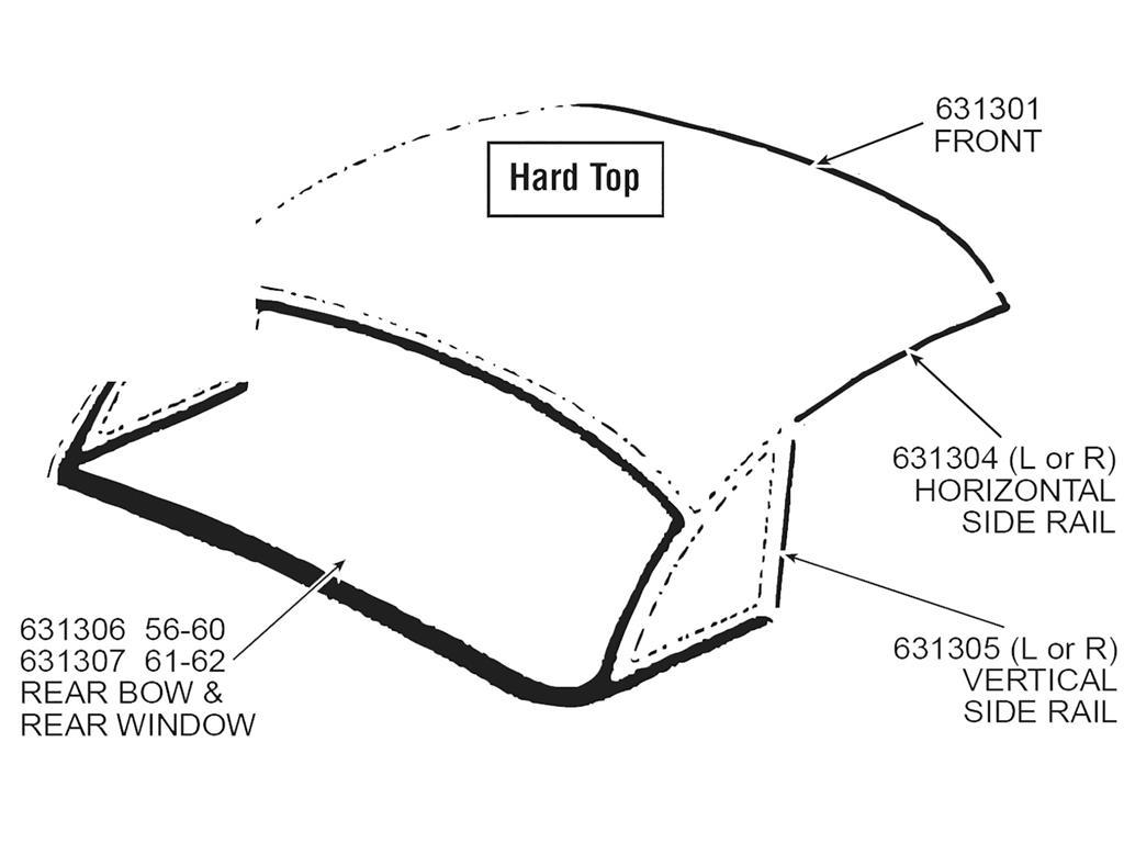 56 60 Hardtop Rear Bow And Rear Window Weatherstrip