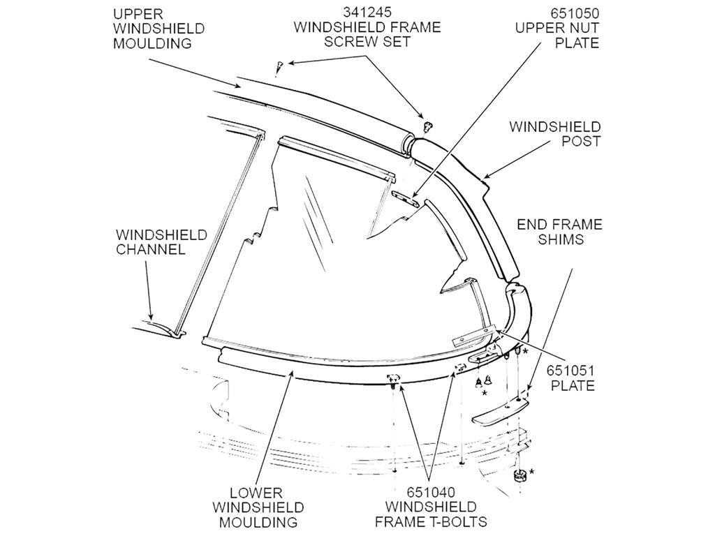 56 62 Windshield Frame Nut Plate