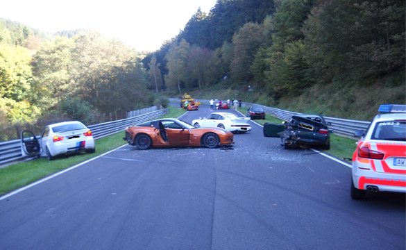 Corvette Z06 is one of eight cars involved in Huge Nurburgring Crash