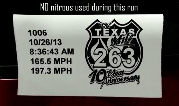 C6 Corvette Z06 at Texas Mile Stats