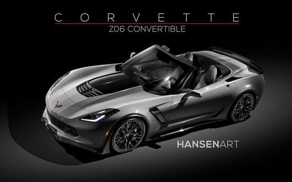 Chevrolet Corvette Z06 Convertible Rendering Home Tiger Shark Gray