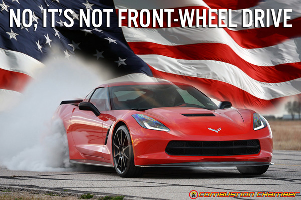 C7-Corvette-Stingray-with-American-Flag-Front-Wheel-Drive-Meme with Combustion Chamber
