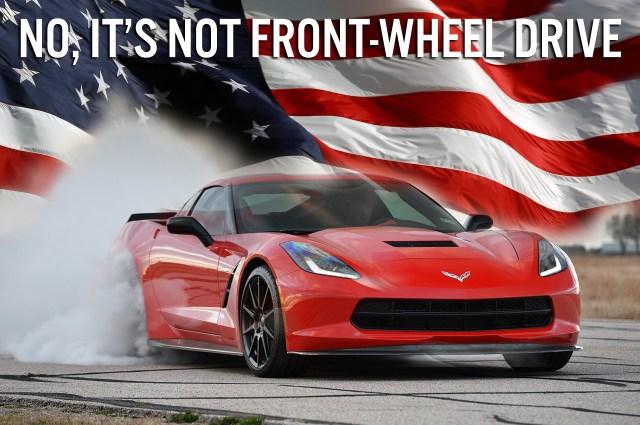 C7 Corvette Stingray with American Flag Front-Wheel Drive Meme