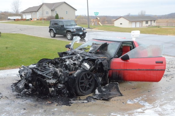 Corvette fire text