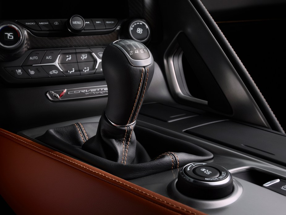 The shifter for the C7 Corvette's seven-speed manual transmission