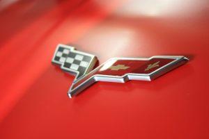 Corvette Logo on Lingenfelter C6 Corvette Matte Red