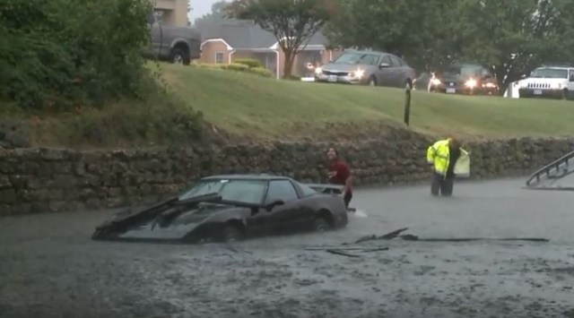 Corvette C4 flooded and mostly underwater